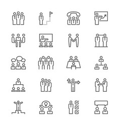 business people thin icons vector image vector image