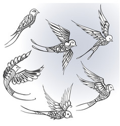 freehand drawing of birds swallows vector image