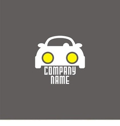 logo with car and bright headlights vector image