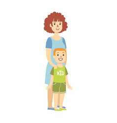 mother with small son from happy vector image vector image