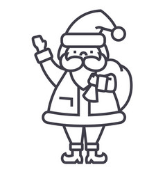 santa claus line icon sign vector image