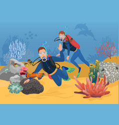 scuba divers greeting while vector image