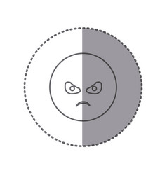 sticker silhouette emoticon face furious vector image