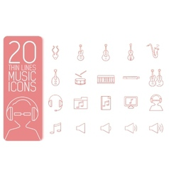 thin line music set icons concept design vector image vector image