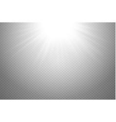 White glowing light burst explosion on transparent vector