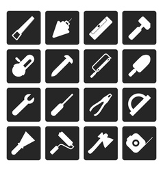 Black Construction and Building Tools icons vector image vector image