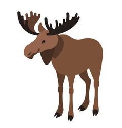 cute smiling horned elk cartoon vector image