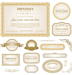 Diploma template with additional design elements vector image