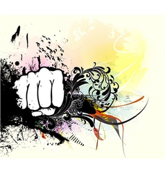 fist with grunge vector image