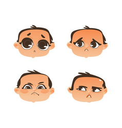 flat baby face expression emotion set vector image