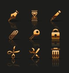 Golden web icons set vector image