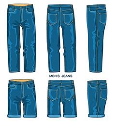 Man jeans pants and shorts vector image