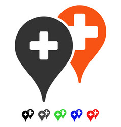 Medical map markers flat icon vector