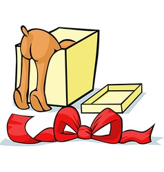 Pet looking for a gift in a box - cheerful vector