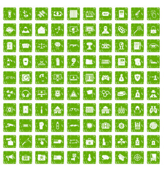 100 hacking icons set grunge green vector image vector image