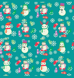 christmas seamless pattern with cute snowmen and vector image vector image