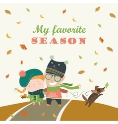 Couple with dog walking in autumn park vector image