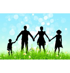 Green Grass and Blue Sky with Family Silhoue vector image vector image