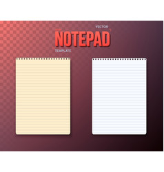 notepad paper notebook template set vector image