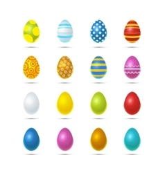 Set of sixteen bright colourful easter eggs on vector image vector image
