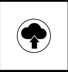 upload solid icon mobile sign and cloud pictogram vector image
