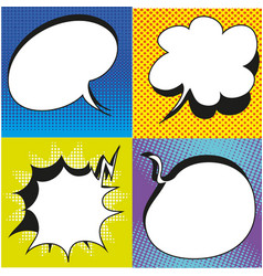 A set of comic bubbles and elements with halftone vector