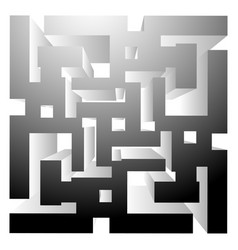Abstract maze labyrinth like shape on white art vector