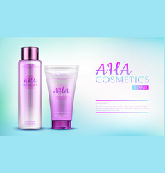 Aha cosmetics product line for body and skin care vector