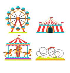 amusement park attractions vector image