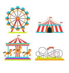 Amusement park of attractions vector