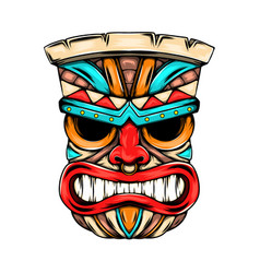Angry face mask from tiki island vector
