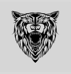 Beast bear face from front view with bared vector