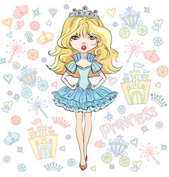 beautiful fashion girl princess vector image