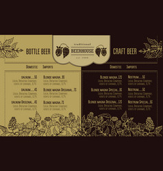 Beer menu for restaurant and cafe design template vector