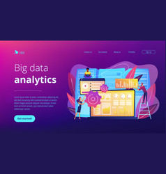Big data visualization concept landing page vector