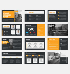 Black slides with gray and orange design elements vector