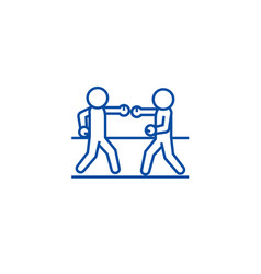 Boxing sparring line icon concept boxing sparring vector