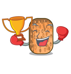Boxing winner fried tempeh on mascot plate vector