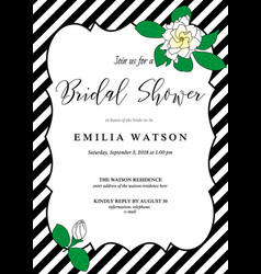 Bridal shower invitation card template with hand vector