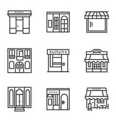 Building facade simple line icons vector image vector image