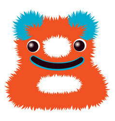 cartoon cute orange and blue monster number eight vector image