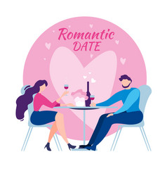 cartoon man woman cafe table romantic dinner date vector image
