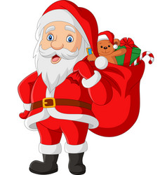 cartoon santa claus carrying a bag presents vector image
