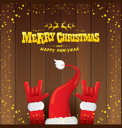 cartoon santa claus rock n roll style with vector image