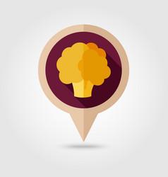 Cauliflower flat pin map icon vegetable vector