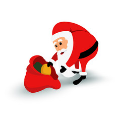 Christmas santa claus character with gift bag vector