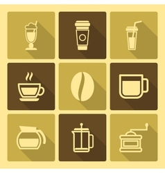 Coffee Drinks Icons With Long Shadow vector image
