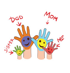 colorfull up hands of a family vector image