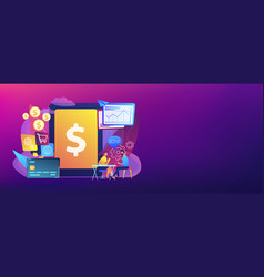 Core banking it system concept banner header vector