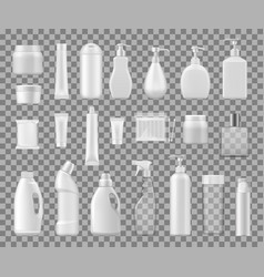 Cosmetics containers plastic and glass bottles vector